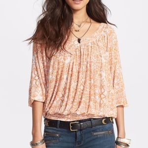 Free People Moss Printed Blouse Sun Orange Combo